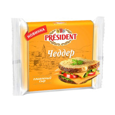 Сыр Чеддер плавленый ломтевой 40% Рresident 150 гр