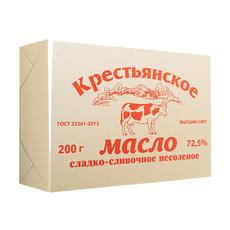 Масло сладко-сливочное 72,5% Крестьянское Гост ММЗ 200 гр
