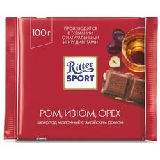 Шоколад Ritter Sport Молочный Ром, изюм, орех 100 гр